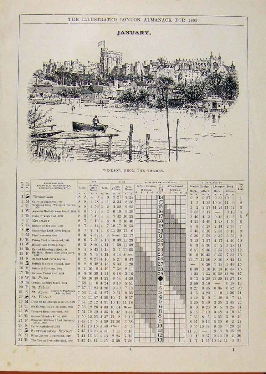 Print London Almanack Windsor From The Thames 1893 January 388901 Old Original