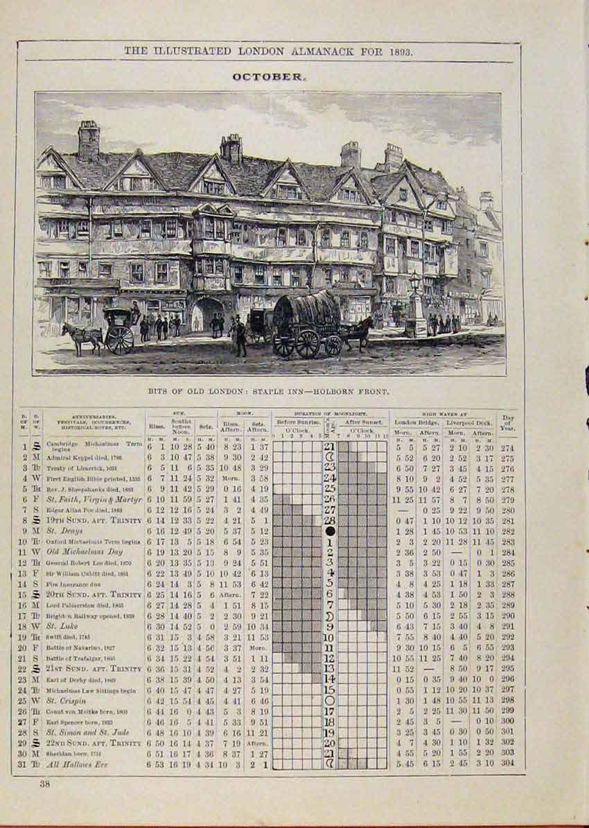 Print London Almanack October 1893 Bits London Staple 478901 Old Original