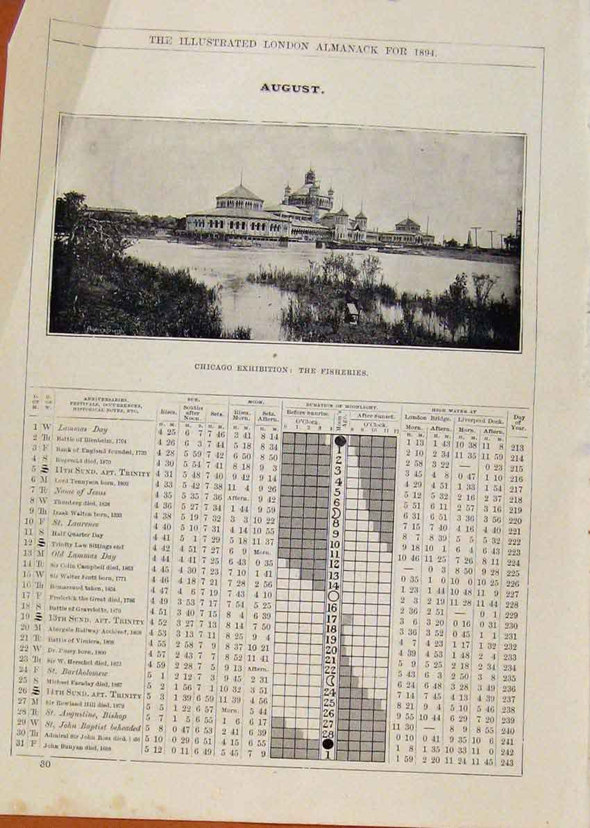 Print London Almanack August 1894 Chicago Exhibition Fisher 578901 Old Original
