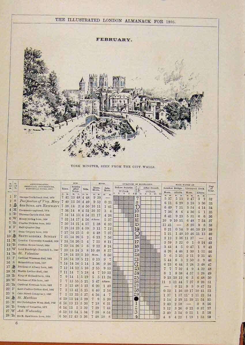 Print London Almanack February 1895 York Minster City Walls 628901 Old Original