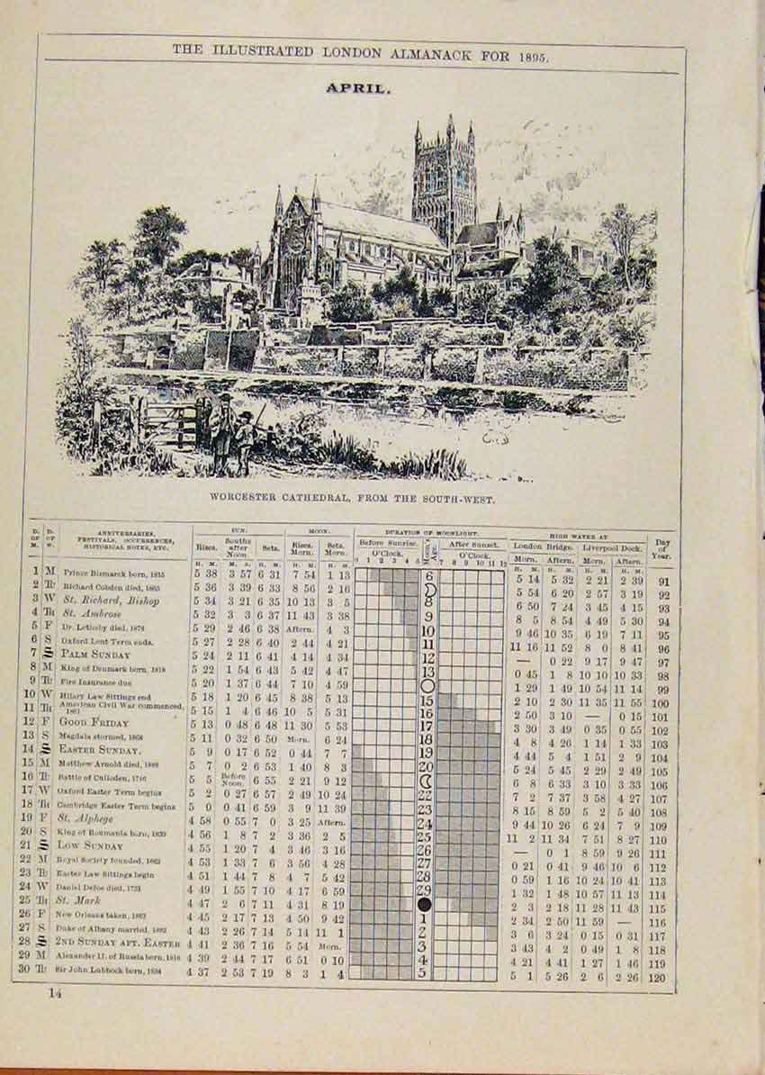 Print London Almanack 1895 April Worcester Cathedral 648901 Old Original
