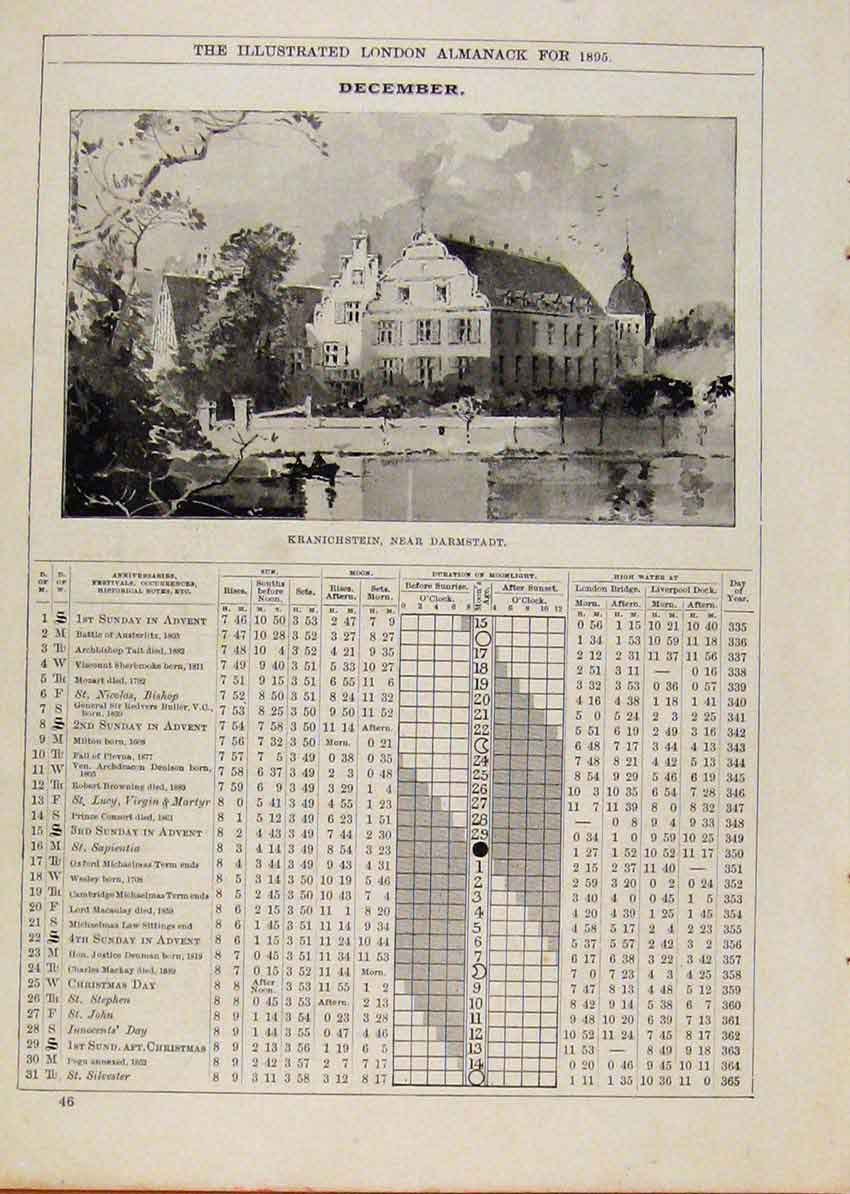 Print London Almanack December 1895 Kranichstein Darmstadt 728901 Old Original
