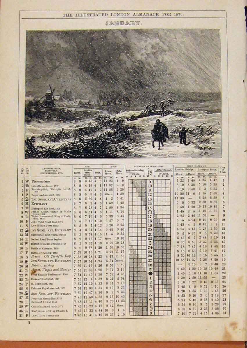 Print London Almanack January 1879 Horse Rider In Snow Bizard 848901 Old Original