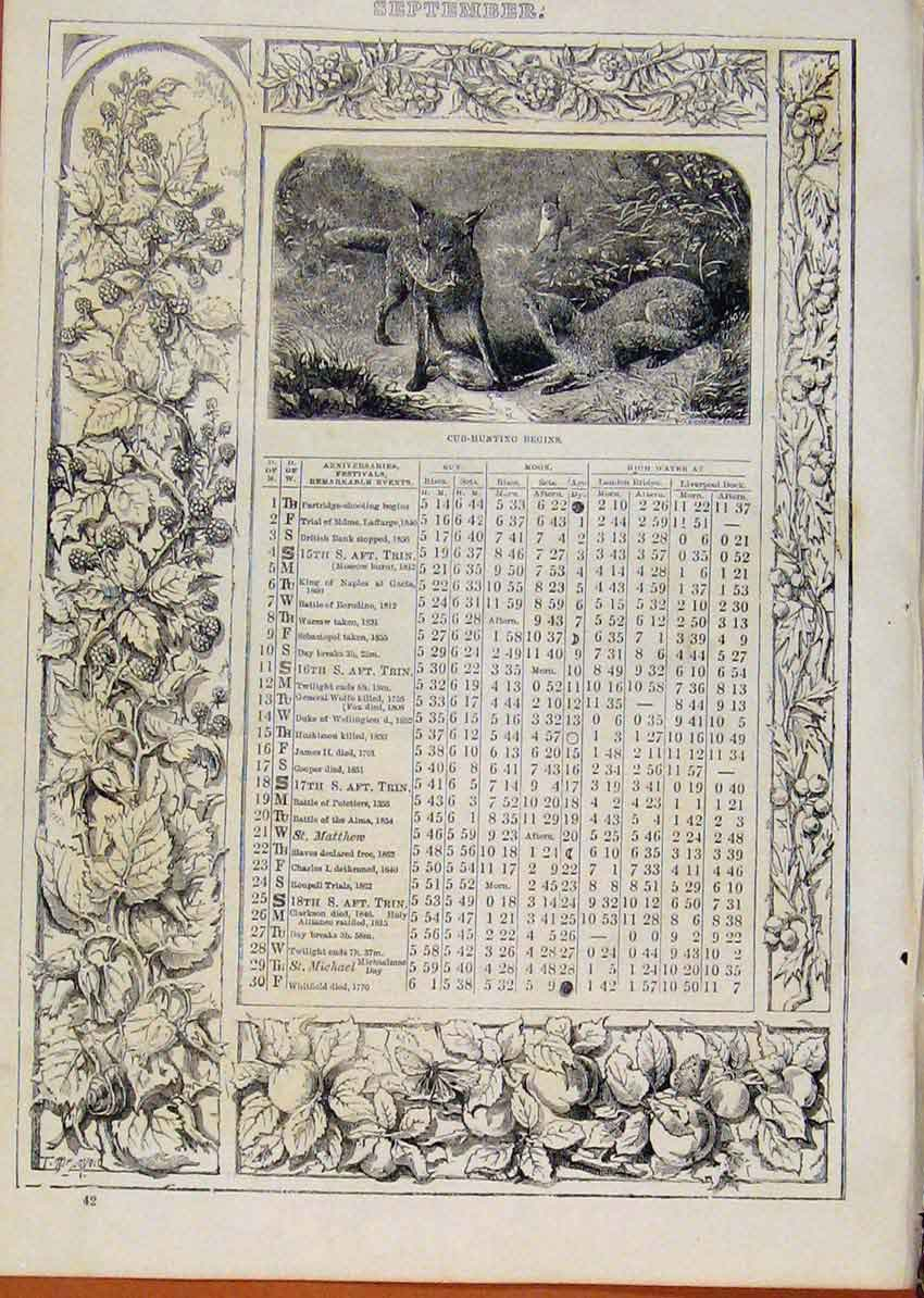 Print London Almanack September Cub Hunting Begings 528901 Old Original