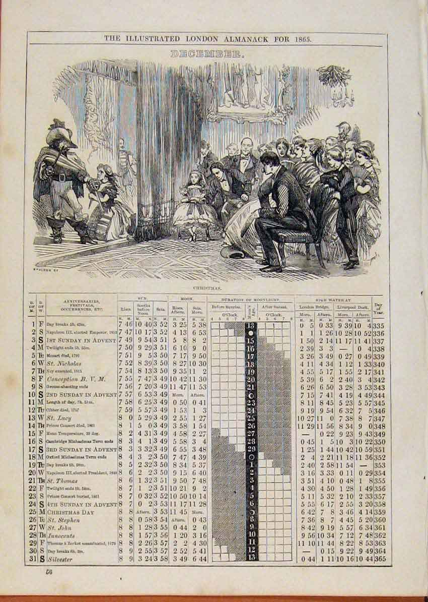 Print London Almanack December Christmas 1865 678901 Old Original