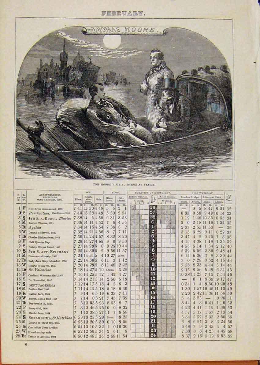 Print London Almanack Feburary Tom Moore Visiting Venice 818901 Old Original