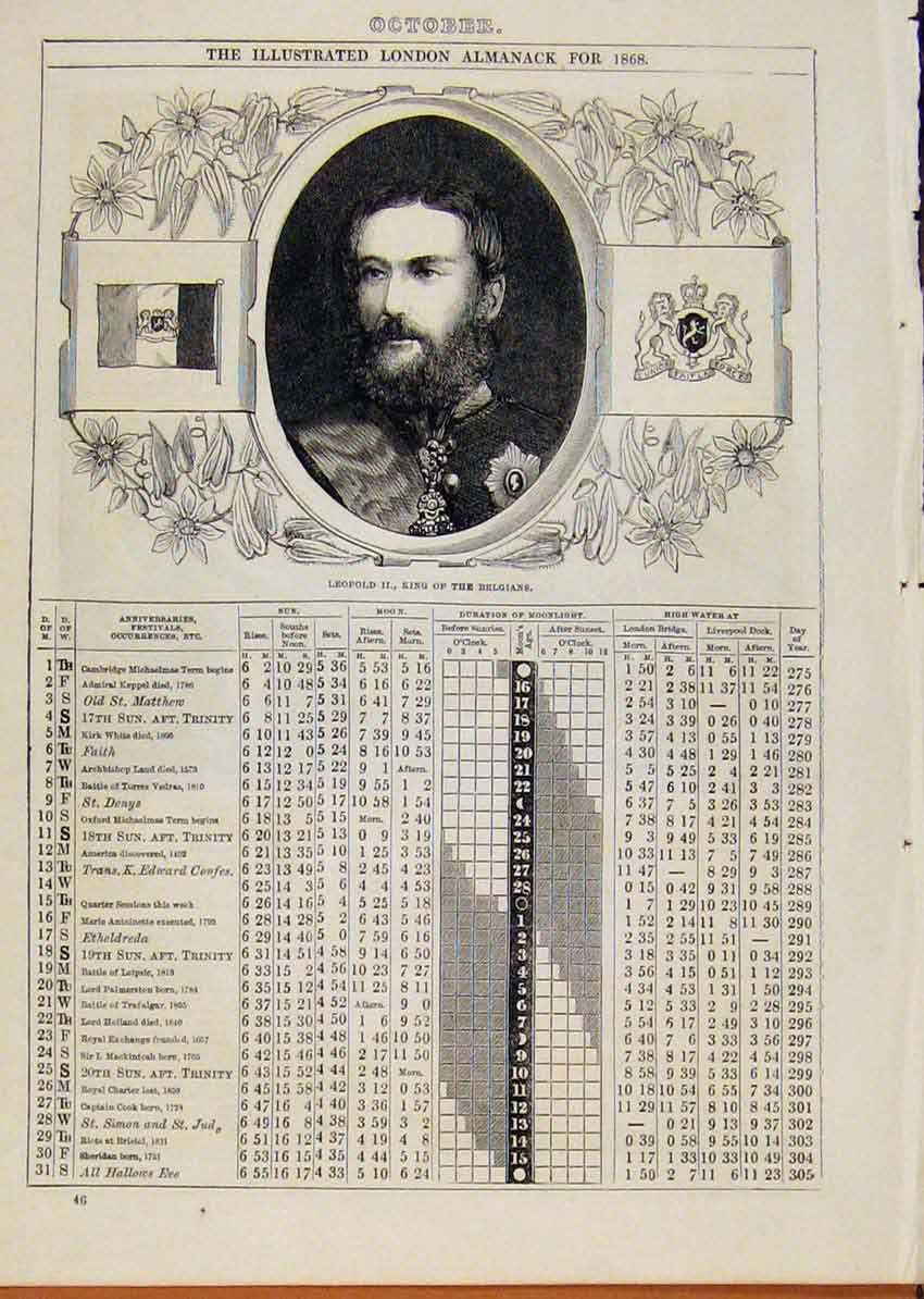 Print 1868 LeopKing Belgians October Events Diary 018901 Old Original