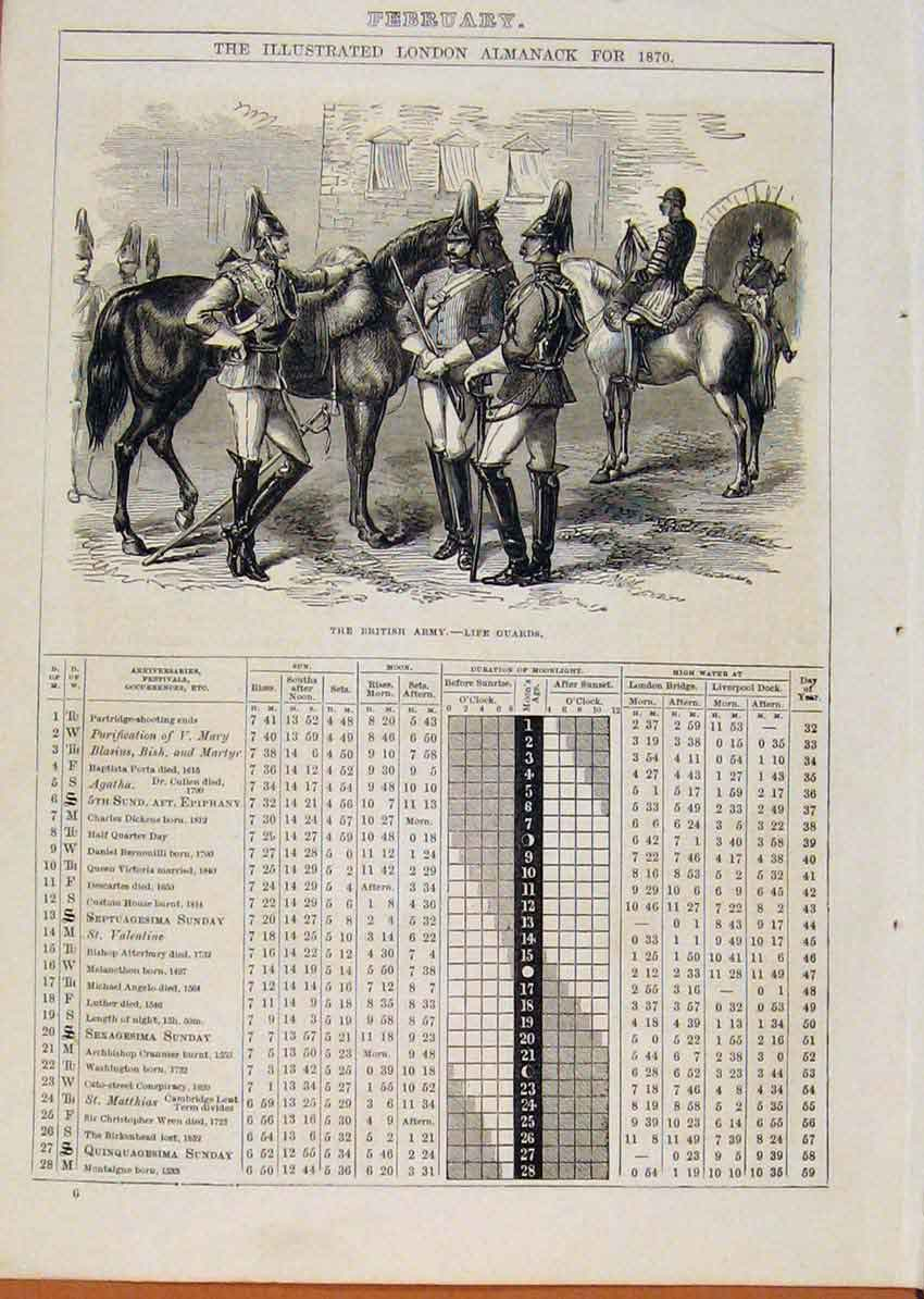 Print London Almanack April 1869 Paddle Wooden Steam Frigate 178901 Old Original
