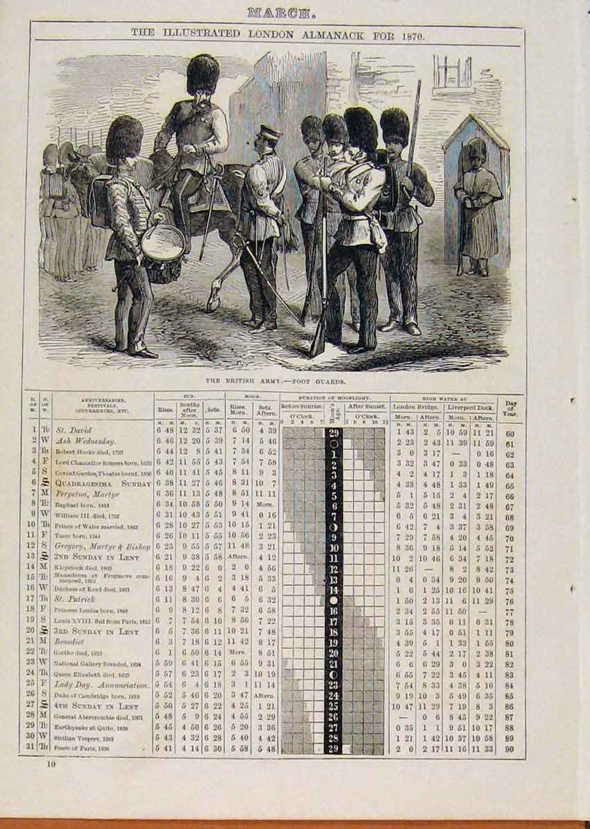 Print London Almanack March 1871 Foot Guards British Army 188901 Old Original