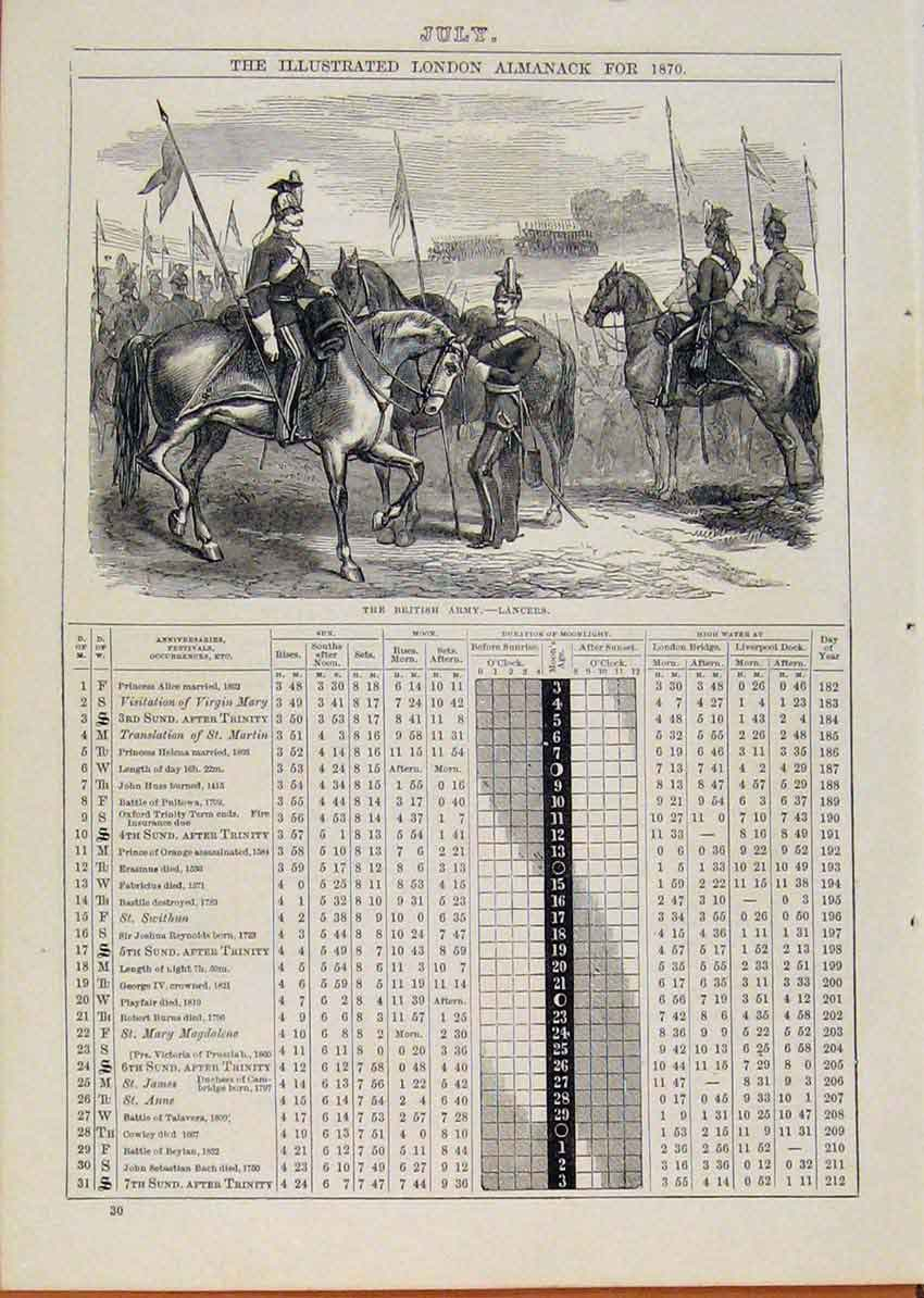 Print 1870 British Army Lancers Horse July Events Diary 228901 Old Original