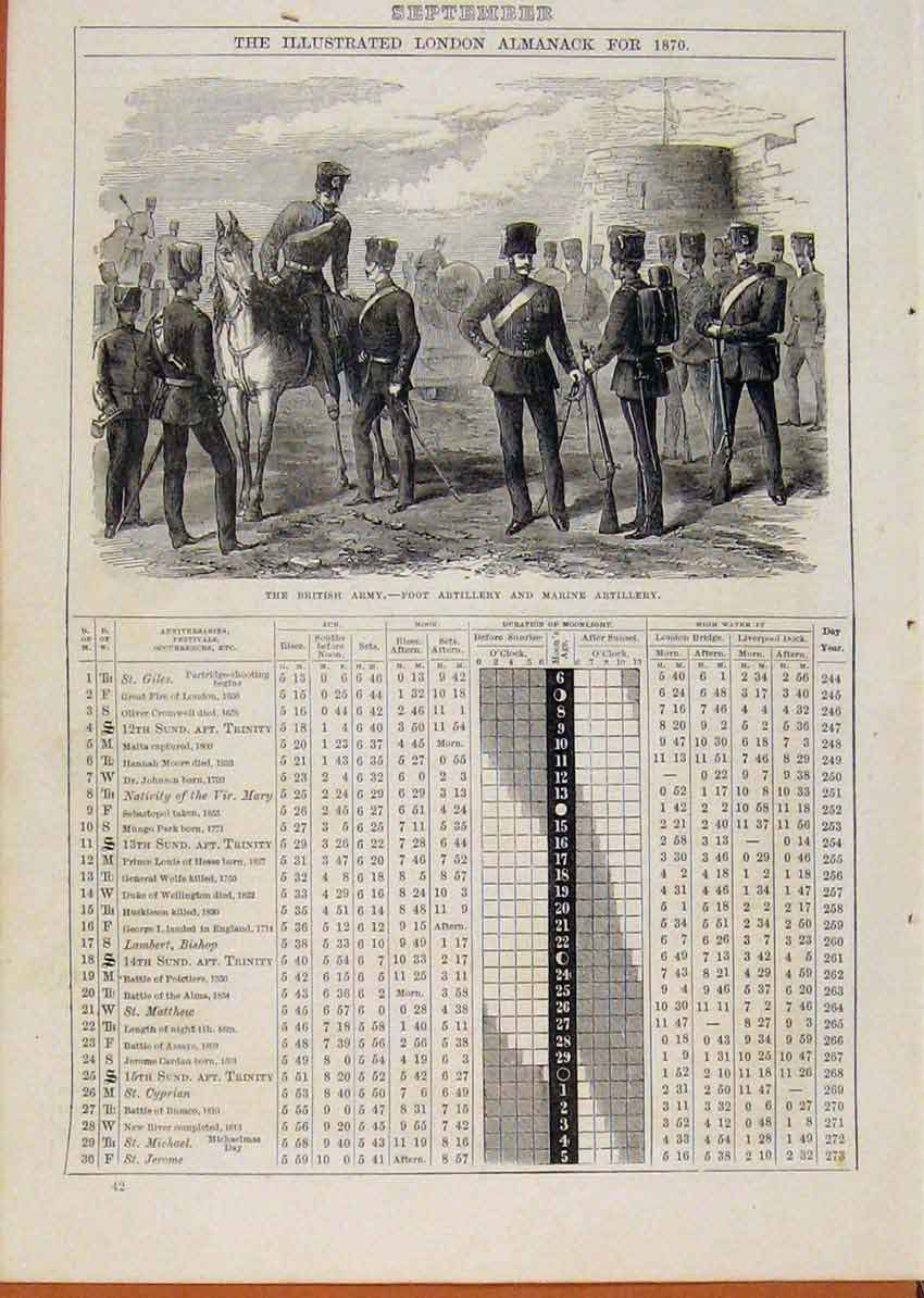 Print London Almanack C1871 September British Army Foot Artil 248901 Old Original