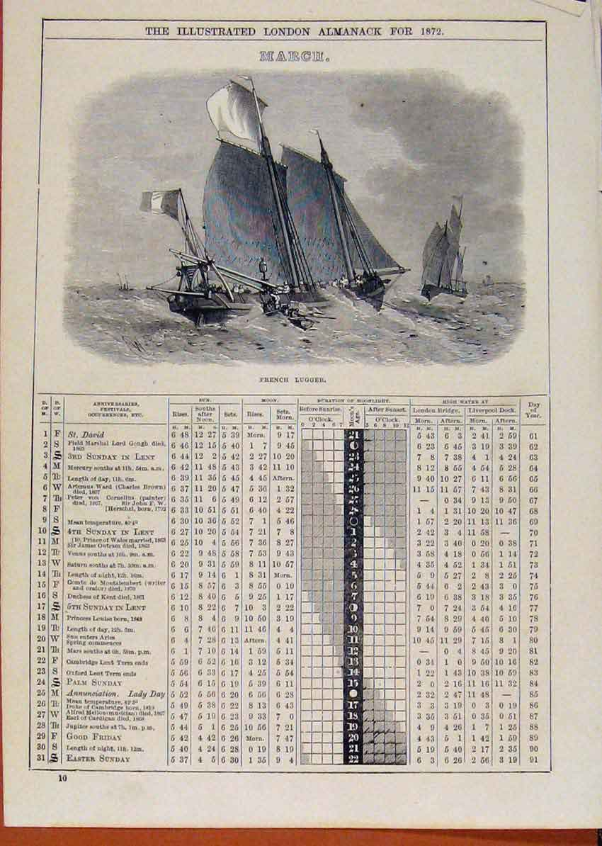 Print London Almanack French Lugger March 1872 428901 Old Original