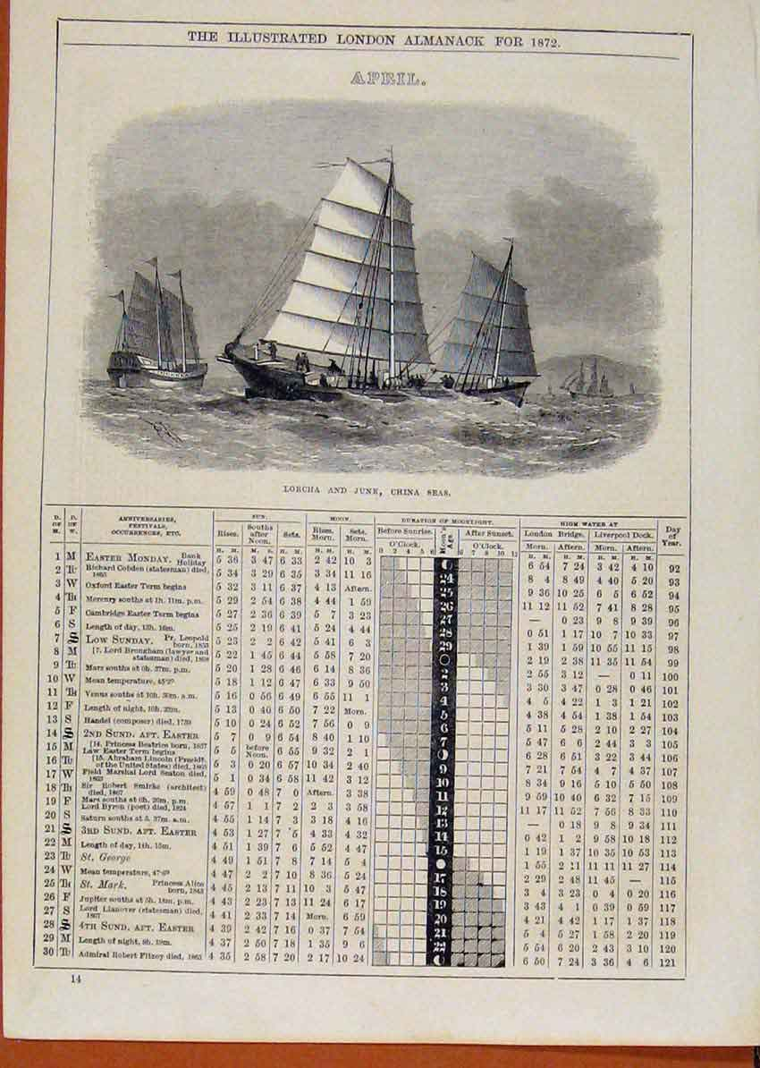 Print London Almanack April 1872 Lorcha Junk China Seas Ship1 438901 Old Original