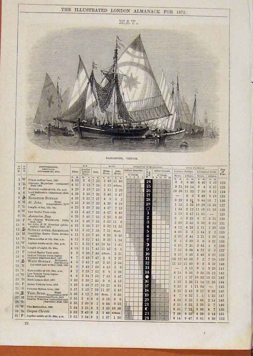 Print 1872 Bagozzoes Venice Ship May Events Diary 448901 Old Original
