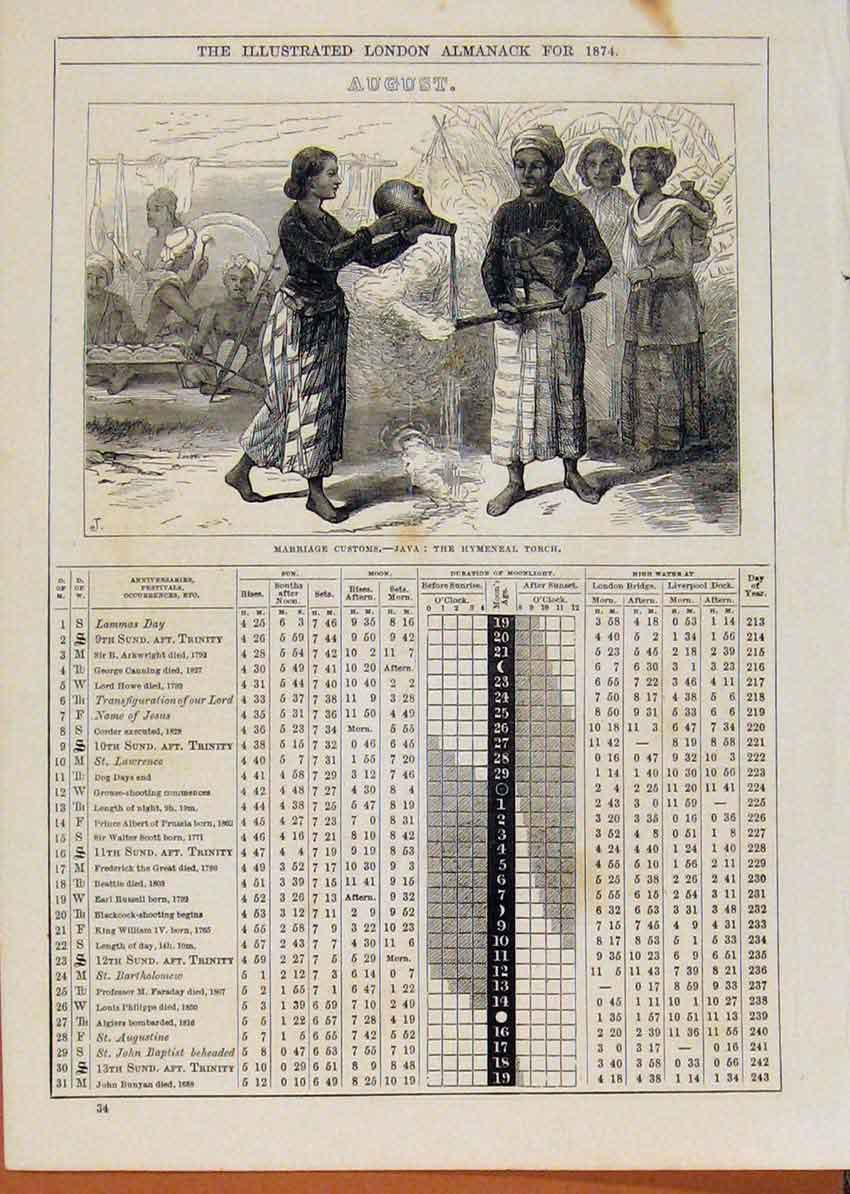 Print London Almanack Marriage Java Customs 1874 August 718901 Old Original