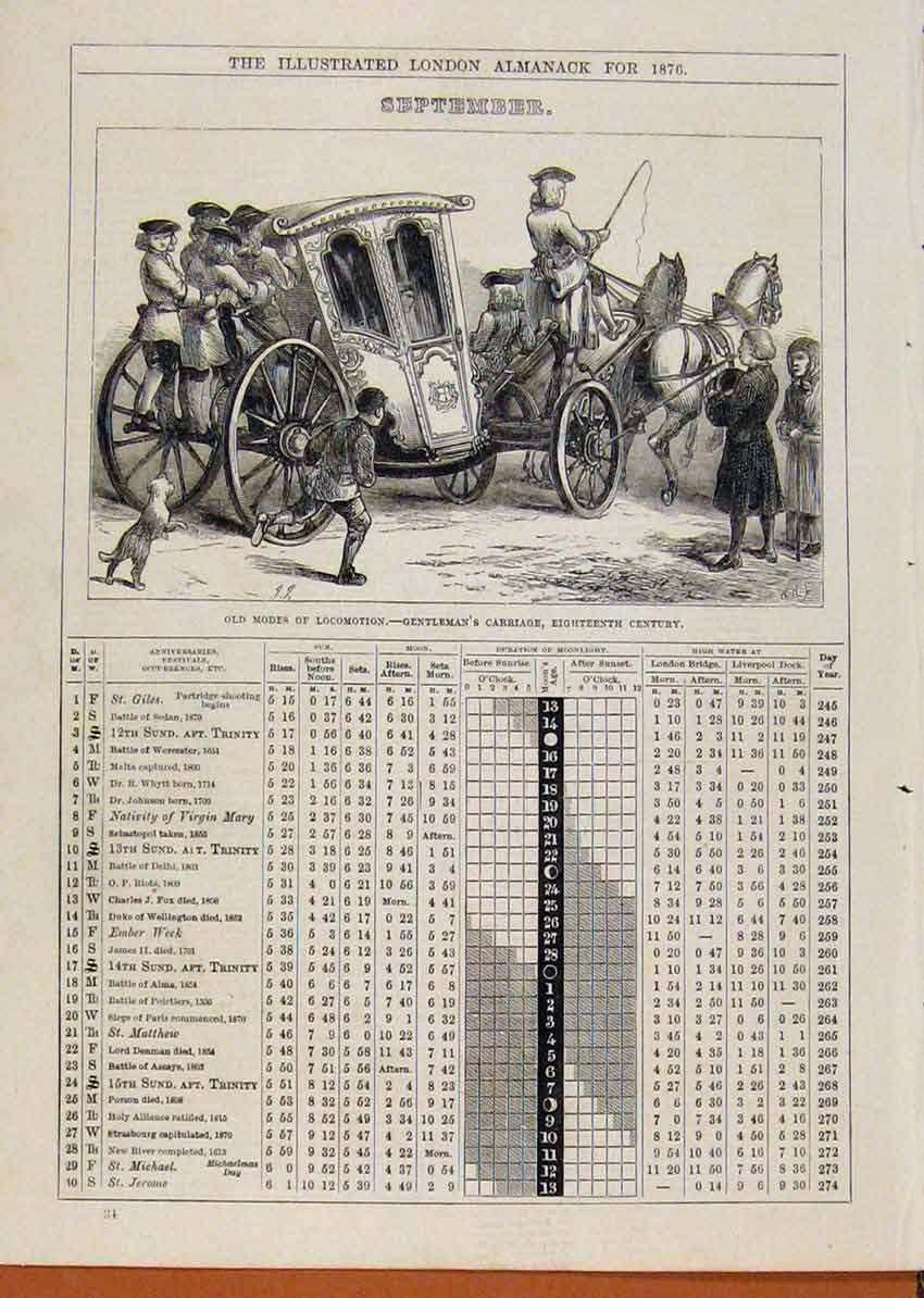 Print London Almanack September 1876 Gentlemans Carriage 968901 Old Original