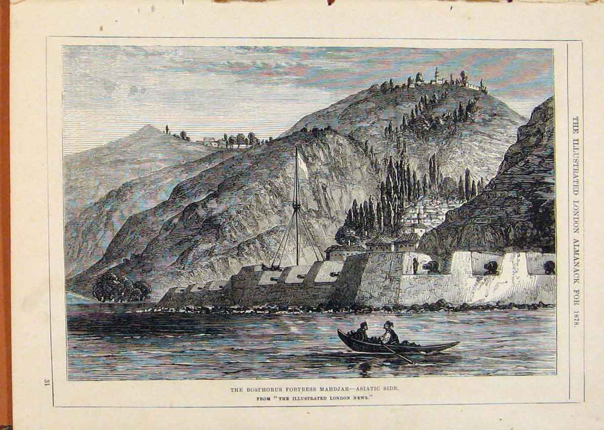 [Print London Almanack 1878 Boshorus Fortress Mahdjar Asiatic 088911 Old Original]