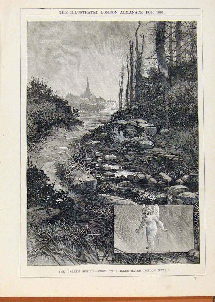 Print London Almanack 1881 Barren Spring 388911 Old Original