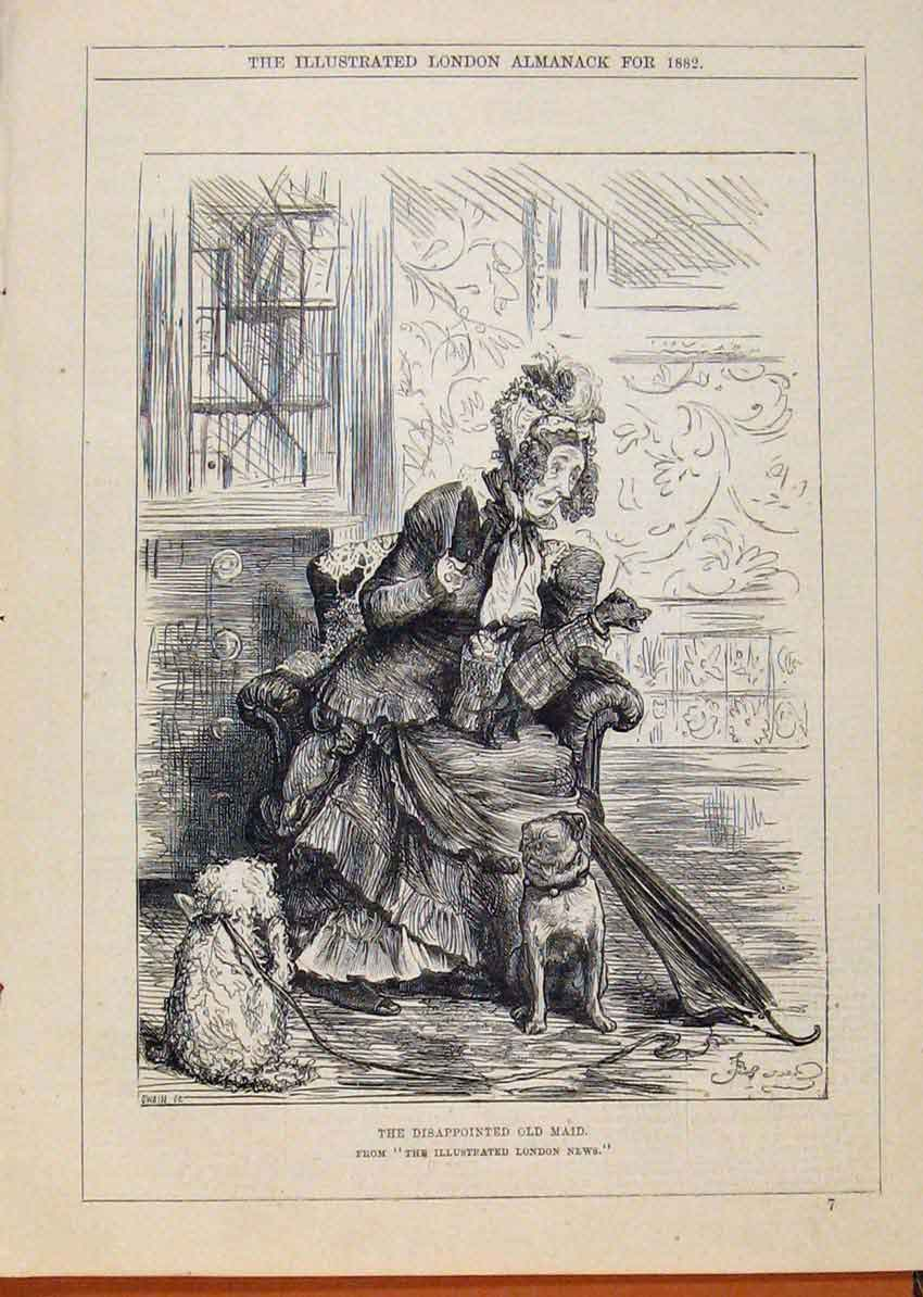 Print London Almanack 1882 Disappointed Maid 508911 Old Original