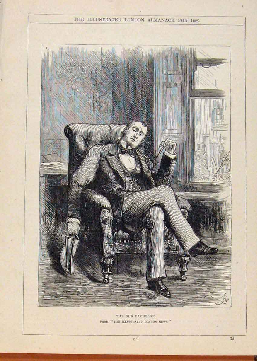 Print London Almanack Bachelor Portrait 568911 Old Original