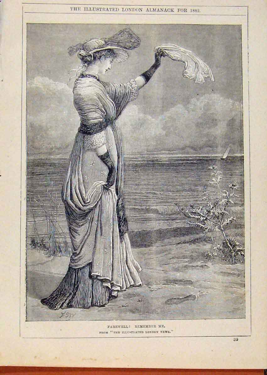 Print London Almanack Farewell Lady Seeing Ship Sail 1882 578911 Old Original