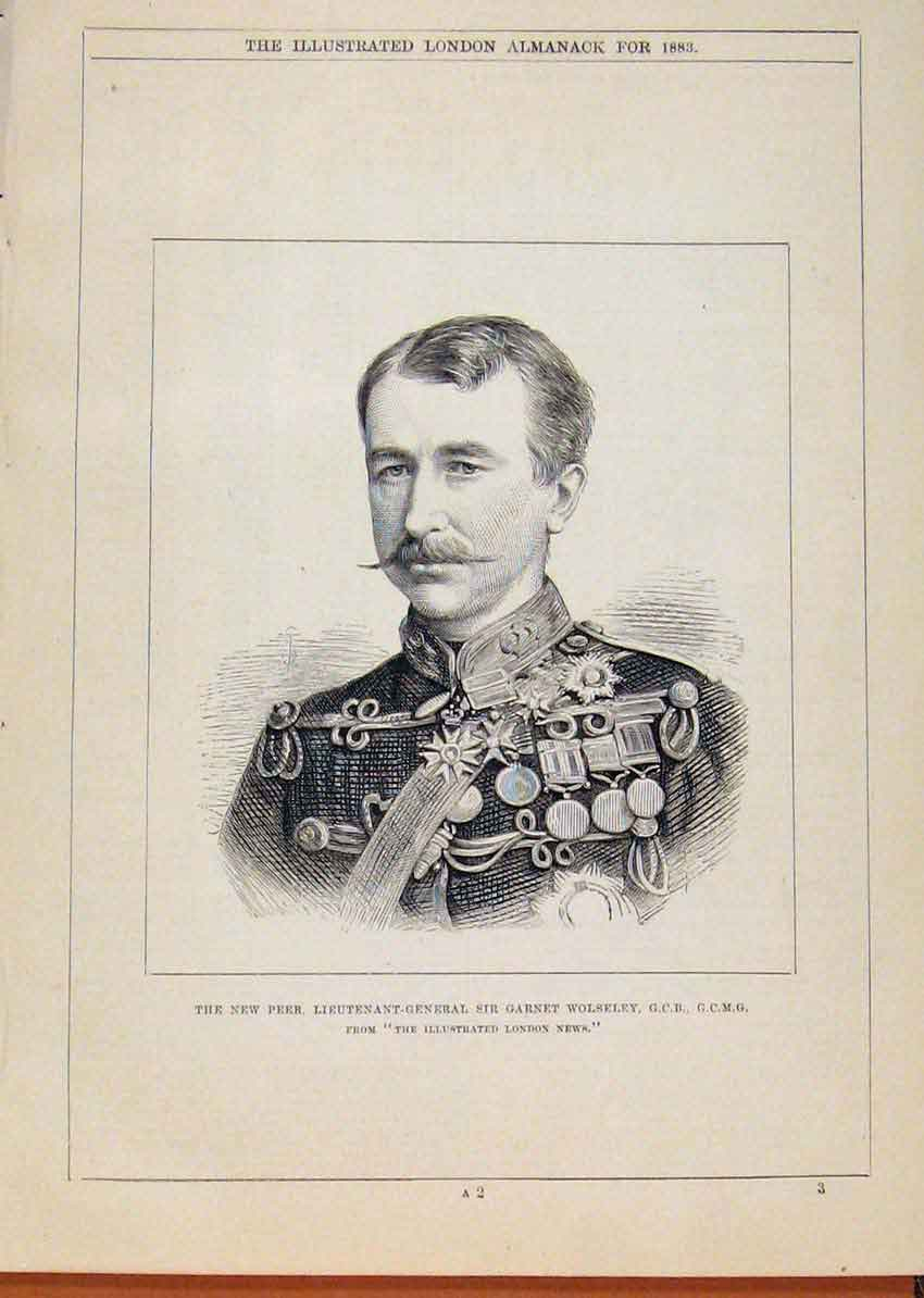 Print London Almanack Lieutenant General Garnet Wolseley 1883 608911 Old Original