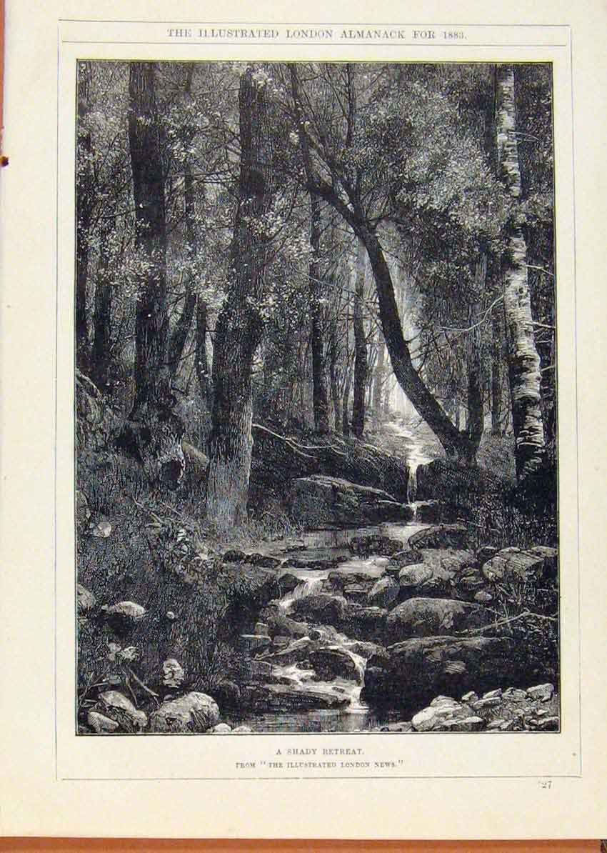 Print London Almanack Shady Retreat Forrest Stream 1883 668911 Old Original
