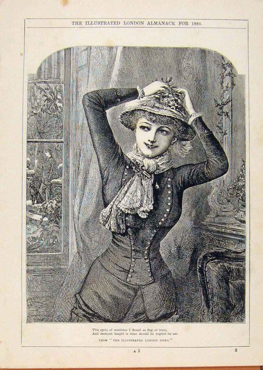 Print London Almanack Young Lady Dressing For Pride 1884 728911 Old Original