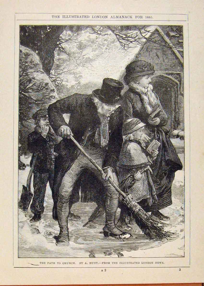 Print London Almanack Path To Church Sweeping Snow 1885 848911 Old Original