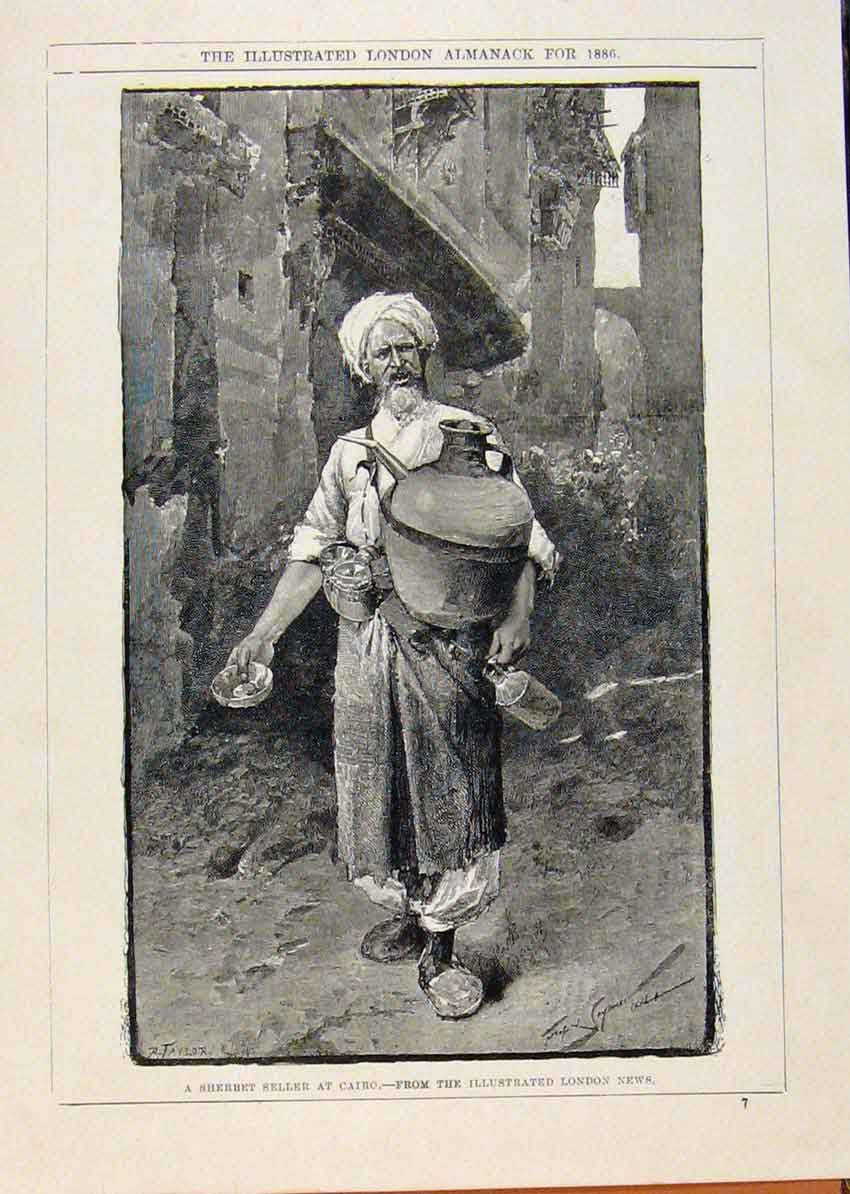 Print London Almanack Sherbet Seller At Cairo Egypt 1886 968911 Old Original