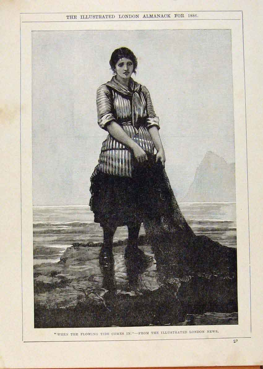 Print London Almanack Fisher Lady Waiting On Tide 1886 Prit 018911 Old Original