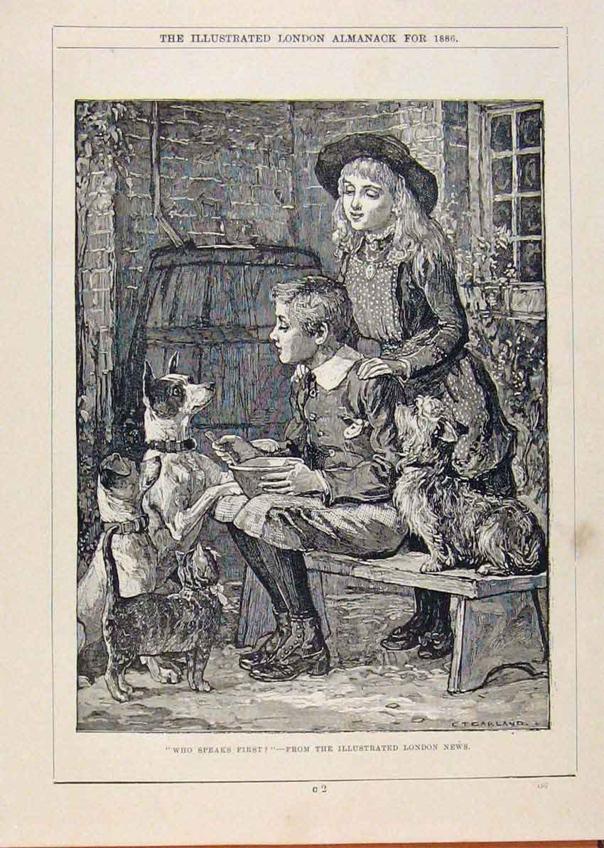 Print London Almanack Children And Pet Dogs 1886 038911 Old Original