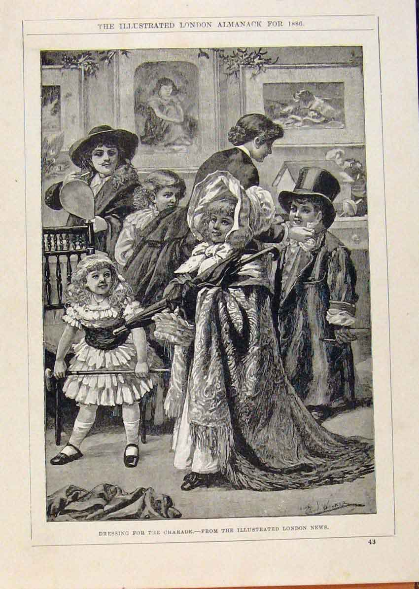 Print London Almanack Dressing For Charade 1886 058911 Old Original