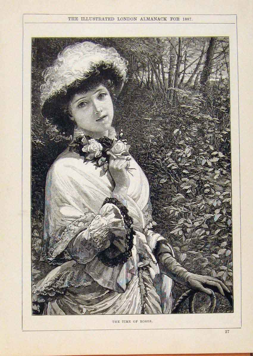 Print London Almanack Roses Time Young Gilr Portrait 1887 138911 Old Original