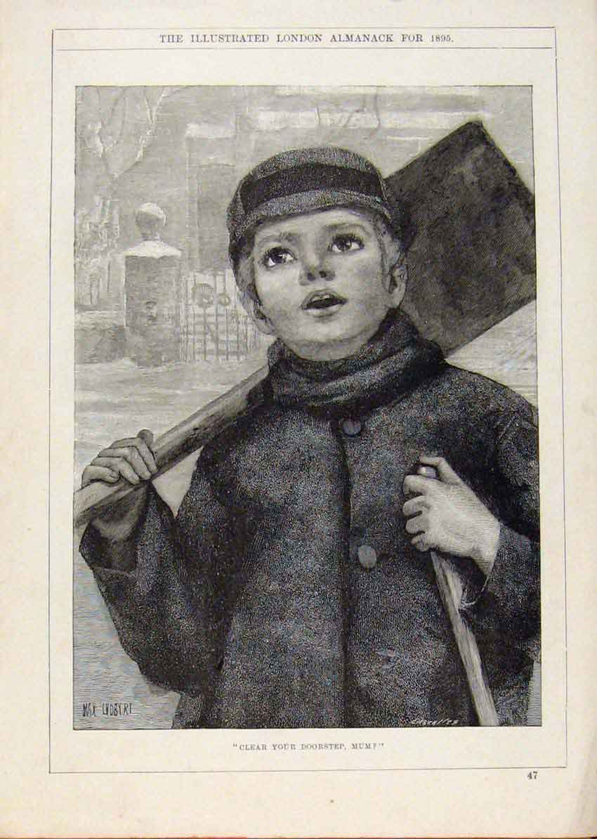 Print London Almanack Snow Shoveller 1895 198911 Old Original