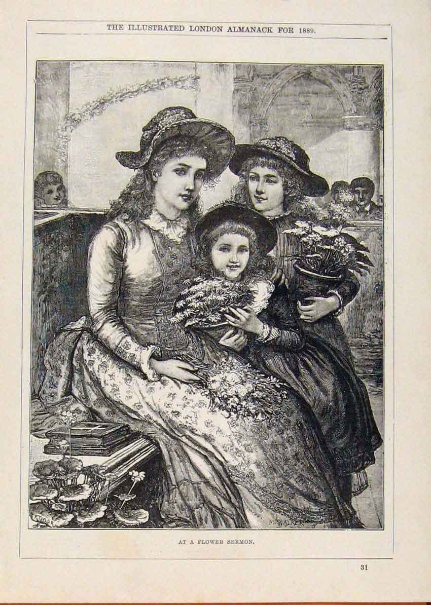 Print London Almanack Flower Sermon Young Girls With Mother 278911 Old Original