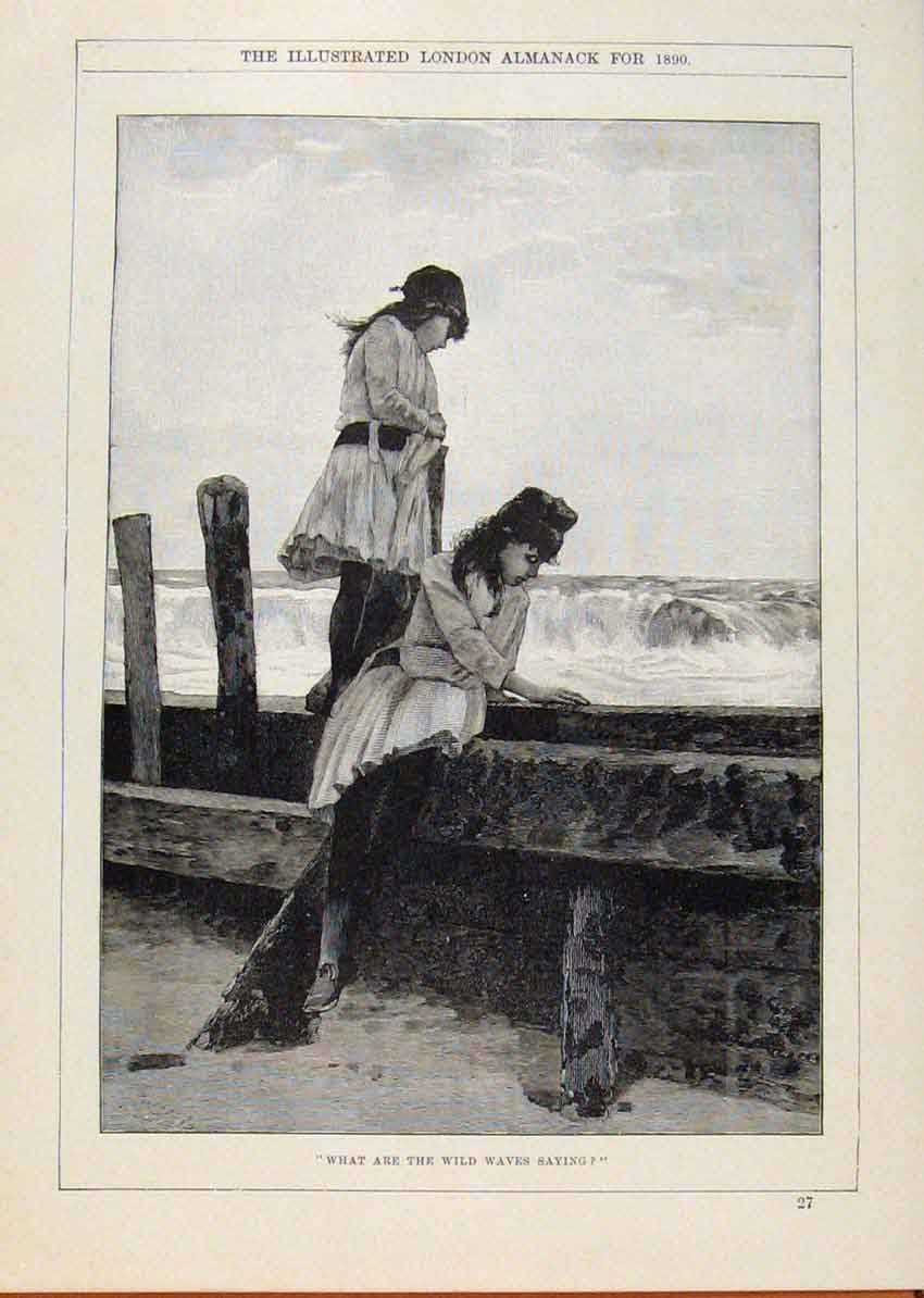 Print London Almanack Two Girls Watching The Waves 1890 388911 Old Original