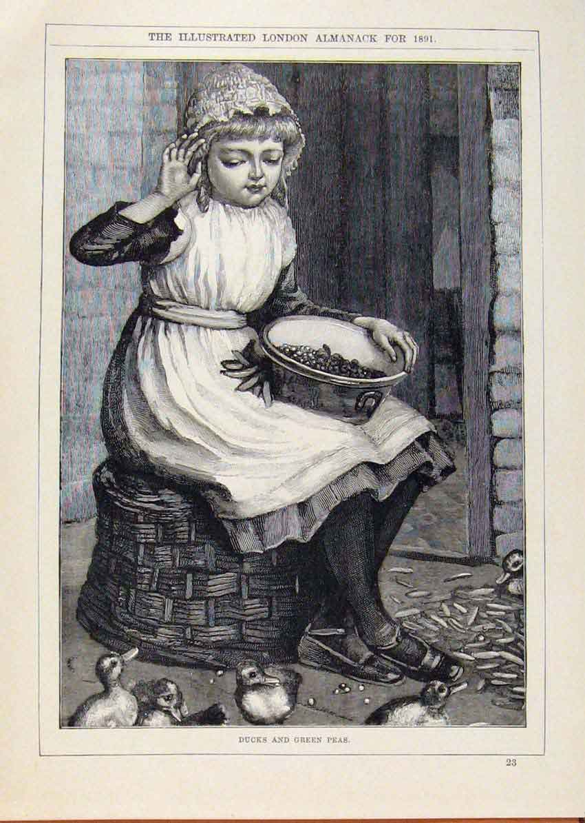 Print London Almanack Ducks Green Peas And Girl 1891 498911 Old Original
