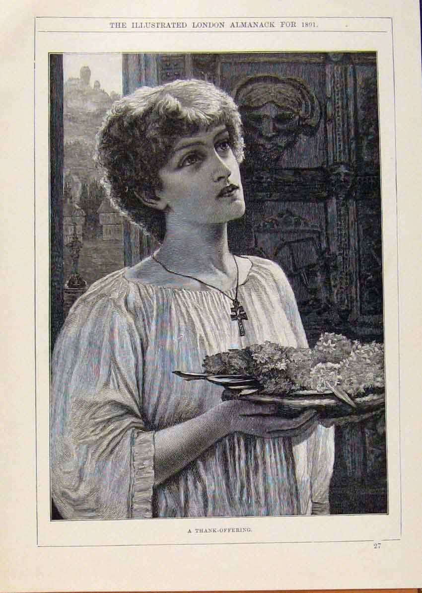 Print London Almanack 1891 Thank Offering Food 508911 Old Original