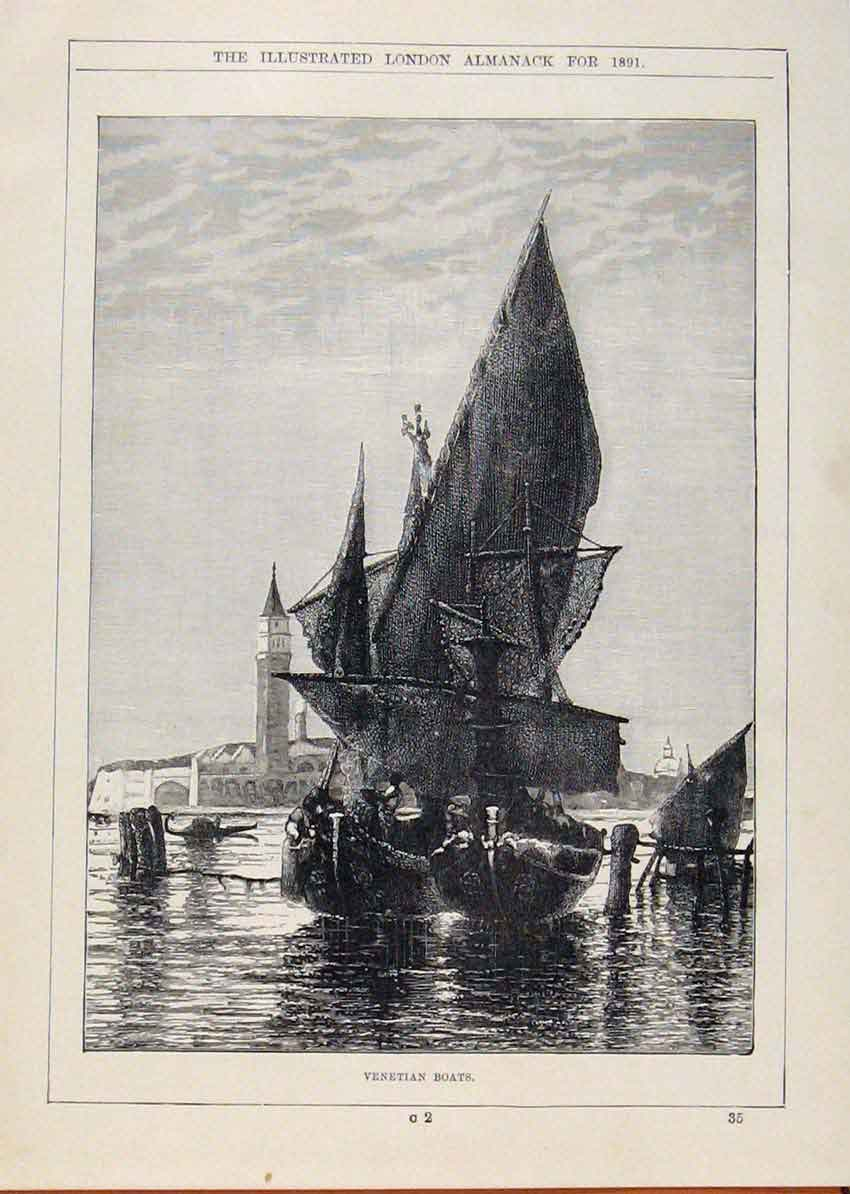 Print London Almanack Venetian Boats Sailling 528911 Old Original