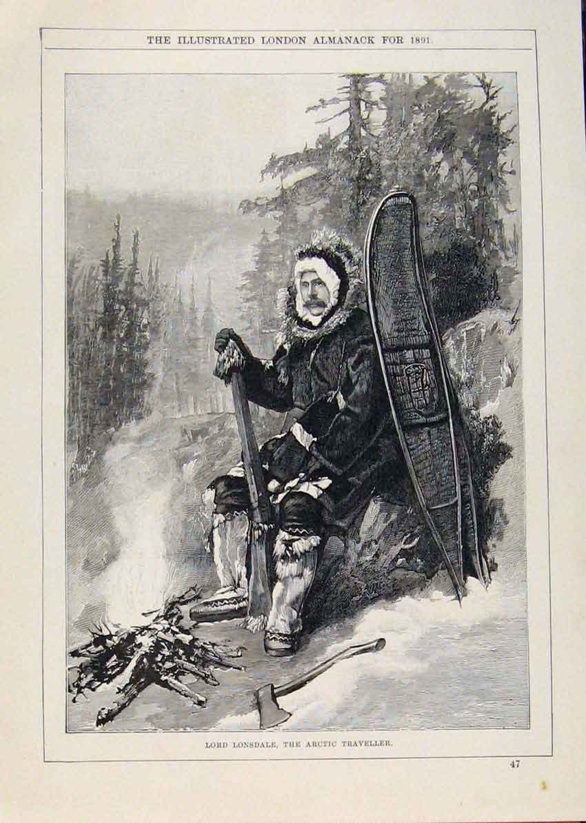 Print London Almanack Lord Lonsdale Artic Traveller 1891 558911 Old Original