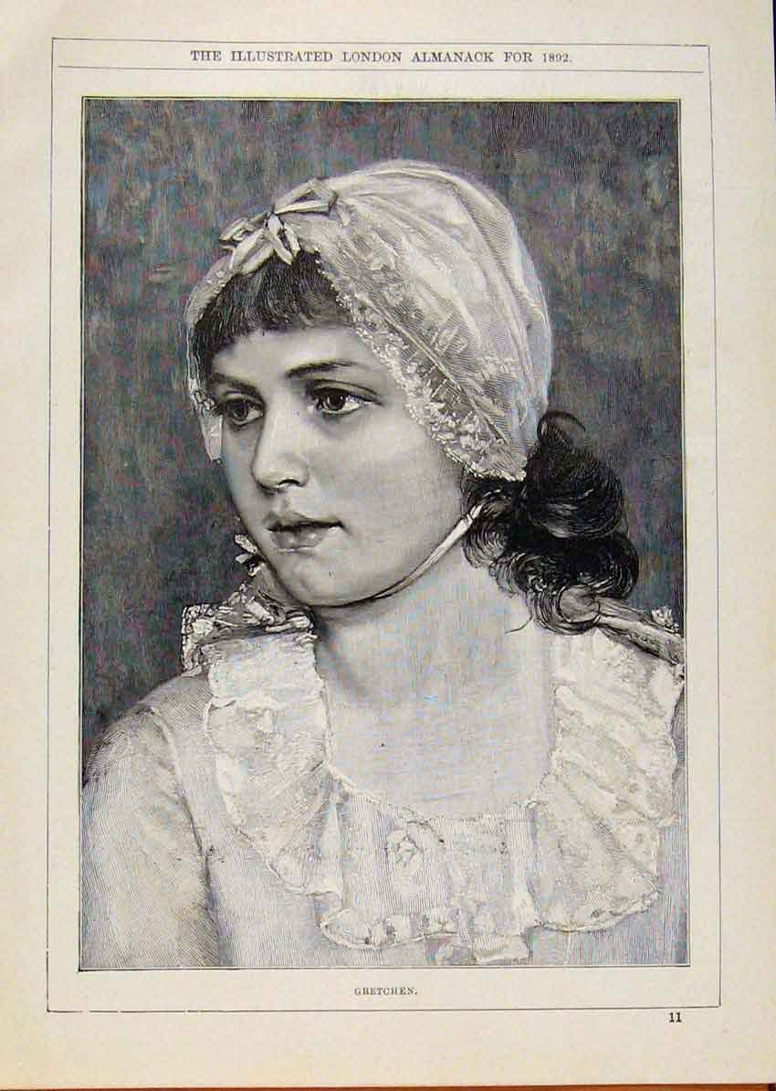 Print London Almanack Gretchen Young Lady 1892 588911 Old Original