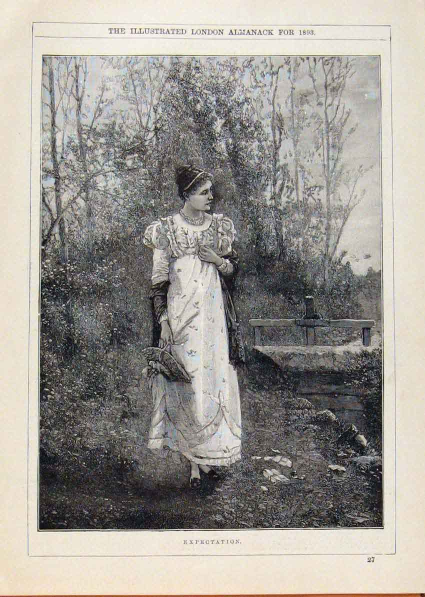 Print London Almanack Expectation Lady Waiting 1893 748911 Old Original