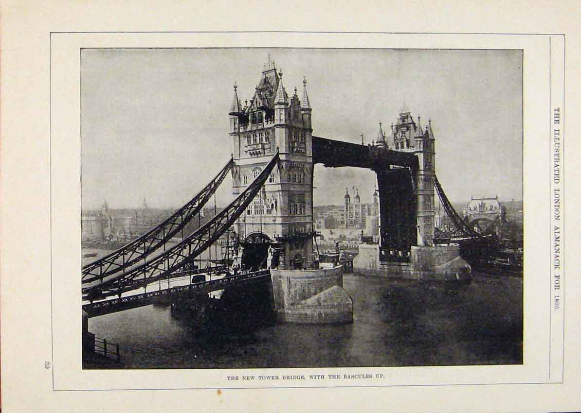 Print London Almanack New Tower Bridge With Bascules Up 1895 018911 Old Original