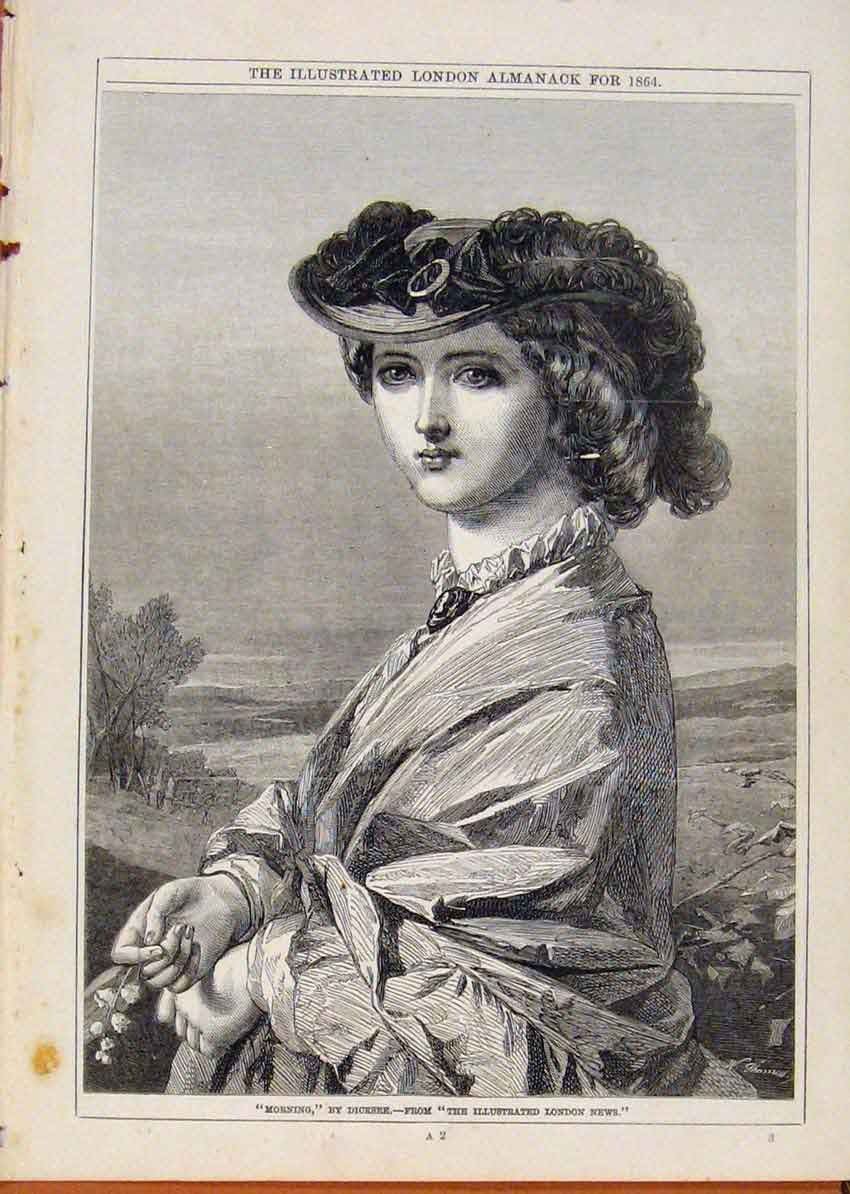 Print London Almanack Morningportrait By Dicksee 1864 038911 Old Original