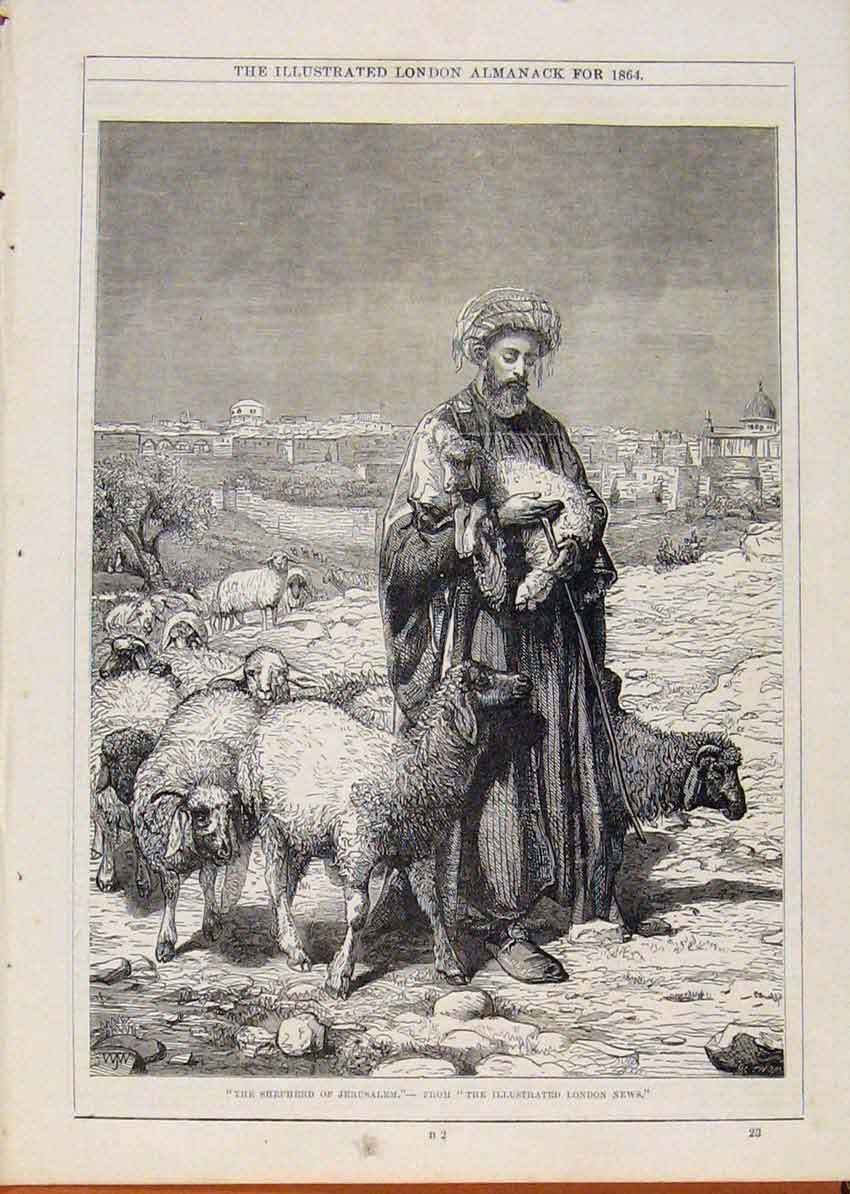 Print London Almanack Shepherd Jerusalem 1864 078911 Old Original