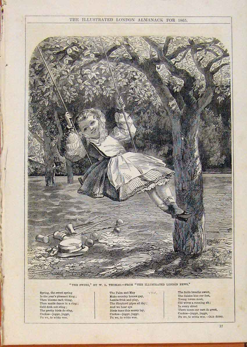 Print London Almanack The Swing By Thomas 1865 168911 Old Original