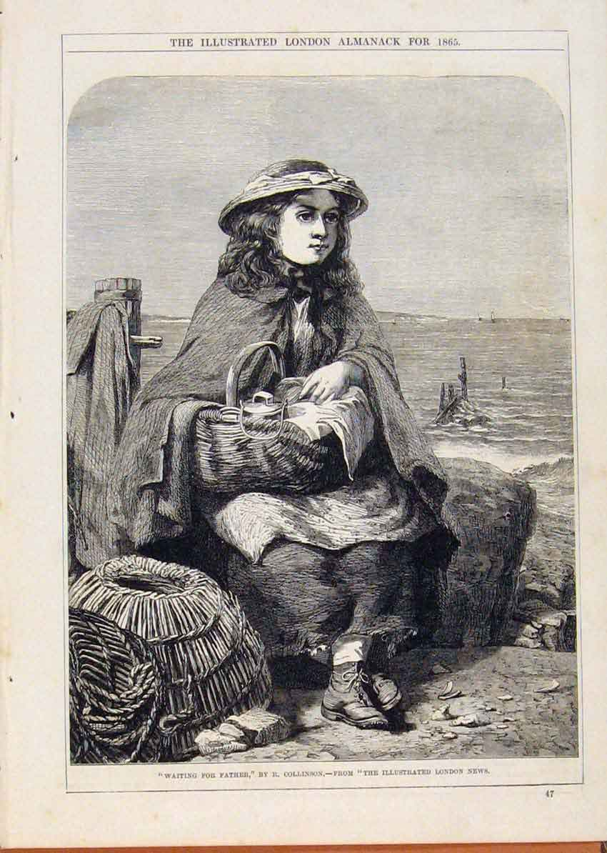 Print London Almanack Child Waiting For Father 1865 228911 Old Original