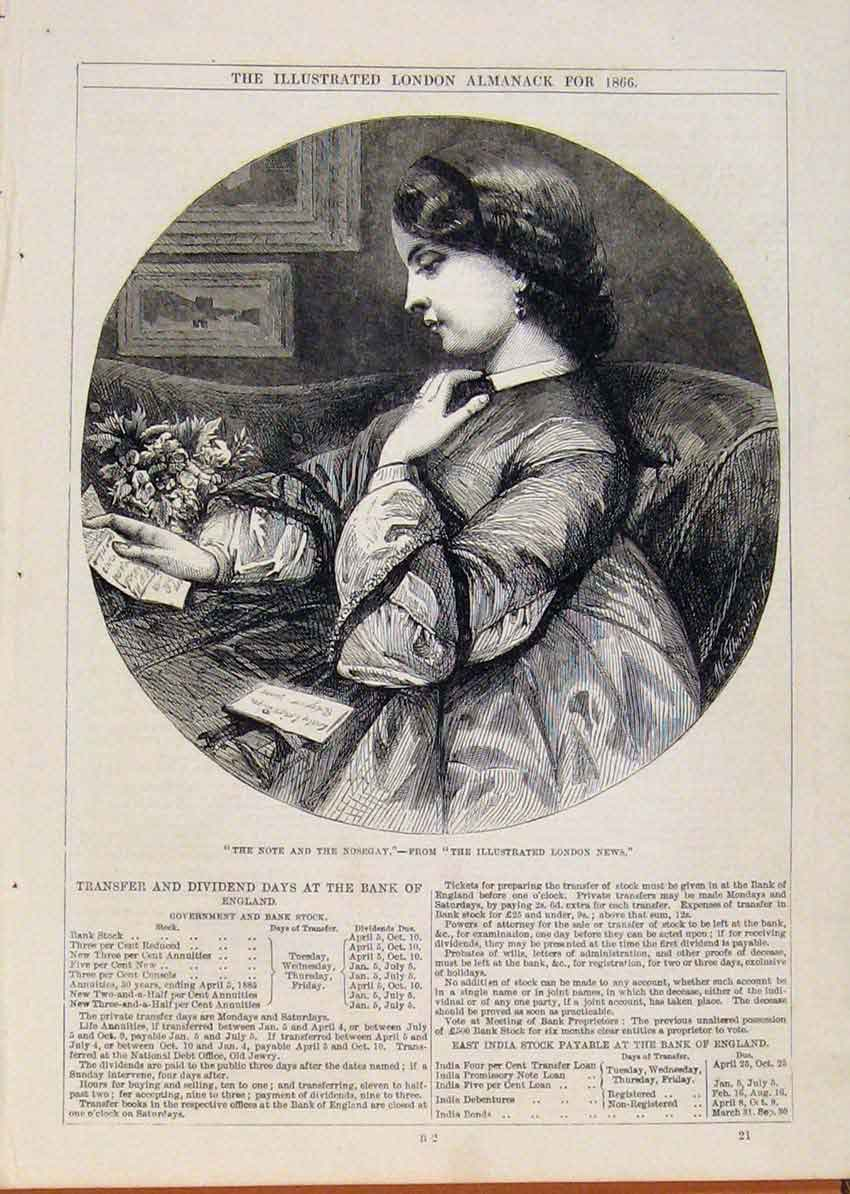 Print London Almanack Note And Nosecay Portrait 1866 298911 Old Original