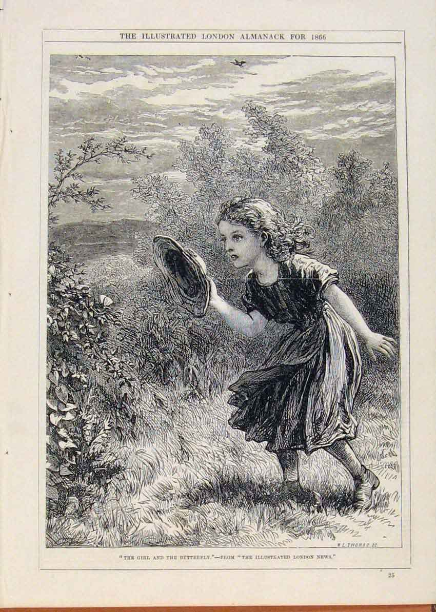 Print London Almanack Girl And Butterfly 1866 308911 Old Original